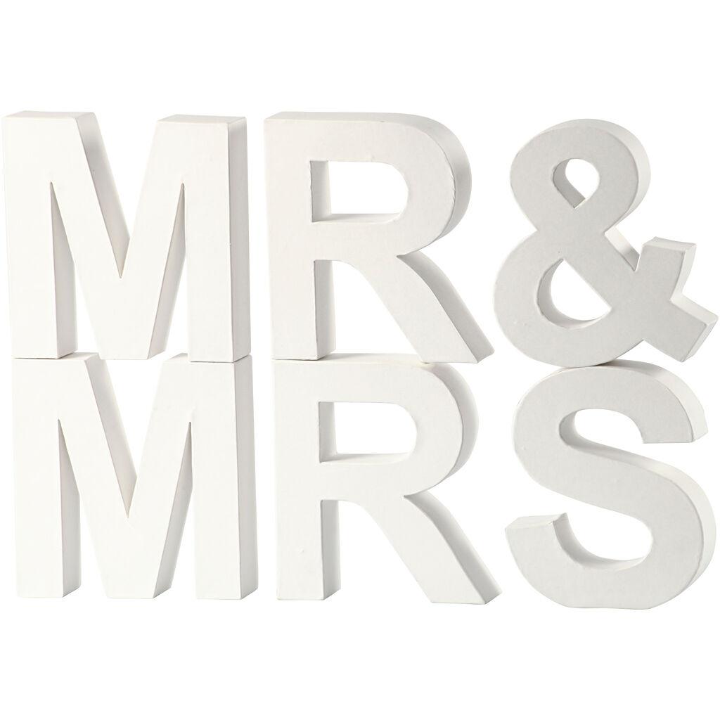 Creativ Company Letters, MR & MRS, H: 17,5 cm, depth 4,5 cm, white, 1 set