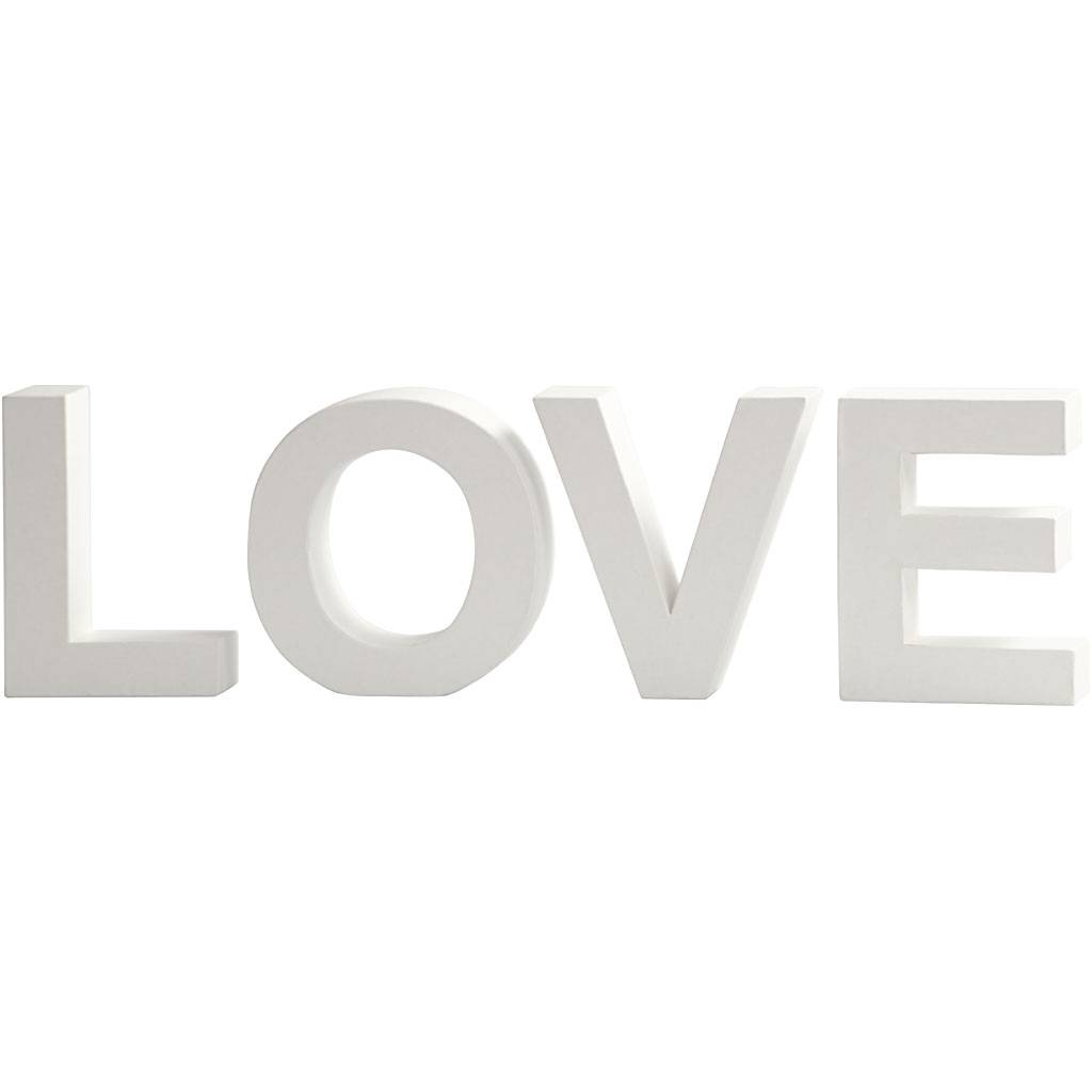 Creativ Company Letters, LOVE, H: 17,5 cm, depth 4,5 cm, white, 1 set