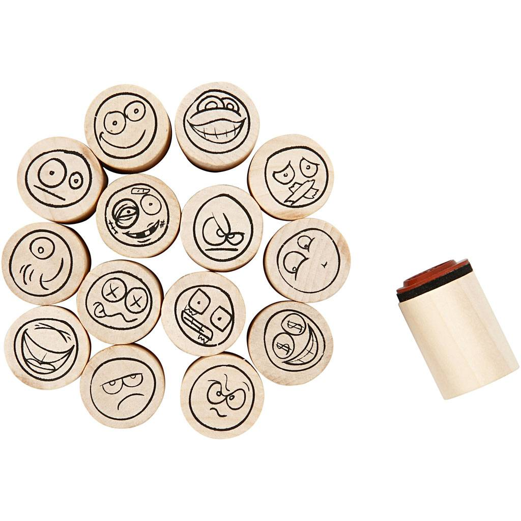 Creativ Company Deco Art Stamps, smiley, H: 26 mm, D: 20 mm, 15 pc/ 1 pack