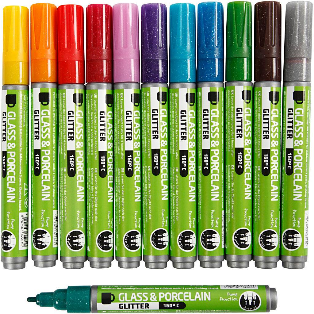 Creativ Company Glas- og porcelænstusch, line 2-4 mm, assorted colours, 12 pc/ 1 pack