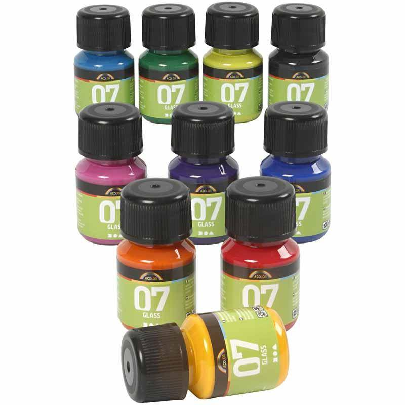 Acolor A-Color Glass Paint, assorted colours, 10x30 ml/ 1 pack