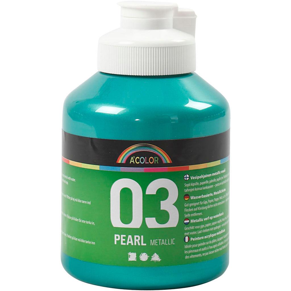 Acolor Skole akrylmaling metallic, metallic, green, 500 ml/ 1 bottle