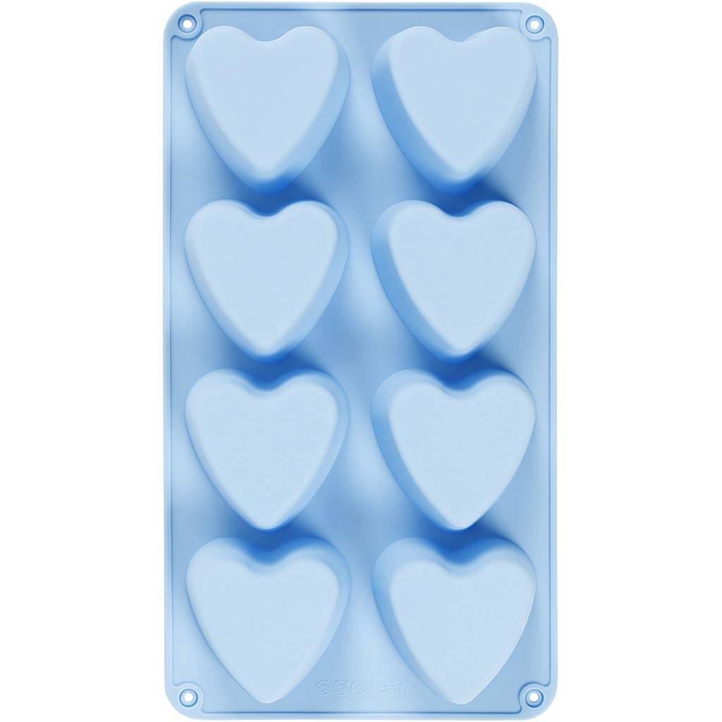 Creativ Company Silicone mould, hearts, H: 3,5 cm, L: 35 cm, W: 21 cm, hole size 70x60 mm, 100 ml, 1 pc