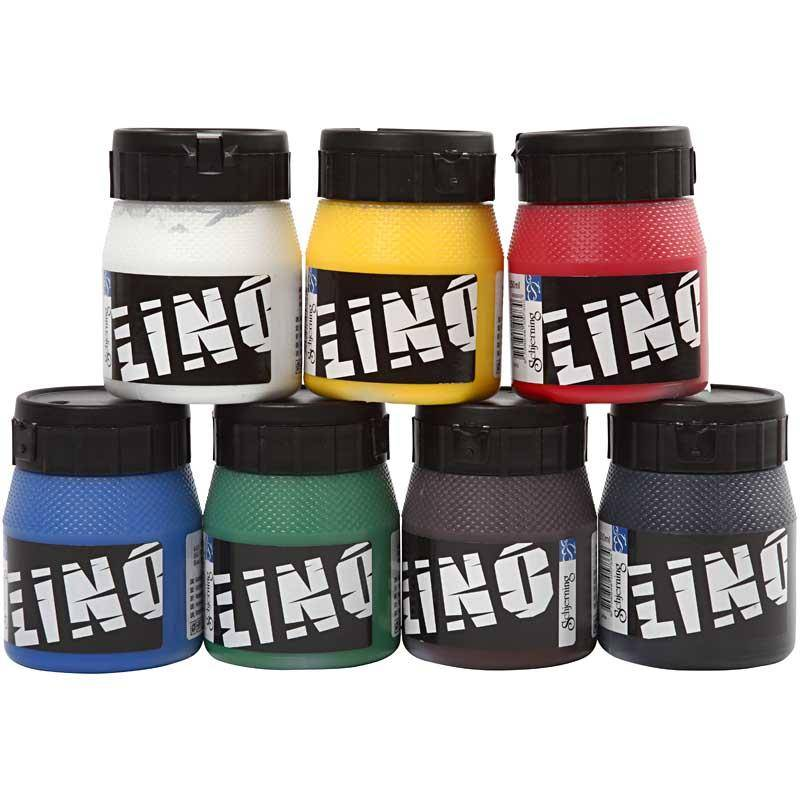 Creativ Company Block Printing Ink, assorted colours, 7x250 ml/ 1 pack