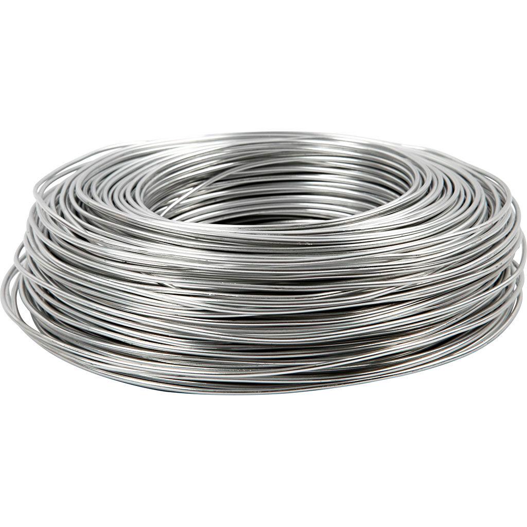 Creativ Company Aluminium Wire, round, thickness 2 mm, silver, 100 m/ 1 roll