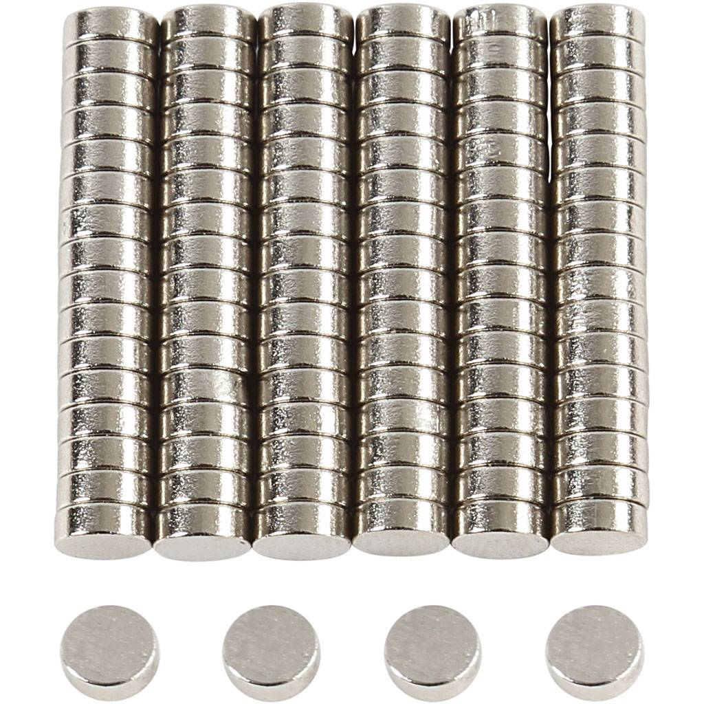 Creativ Company Power Magnets, D: 5 mm, thickness 2 mm, 100 pc/ 1 pack