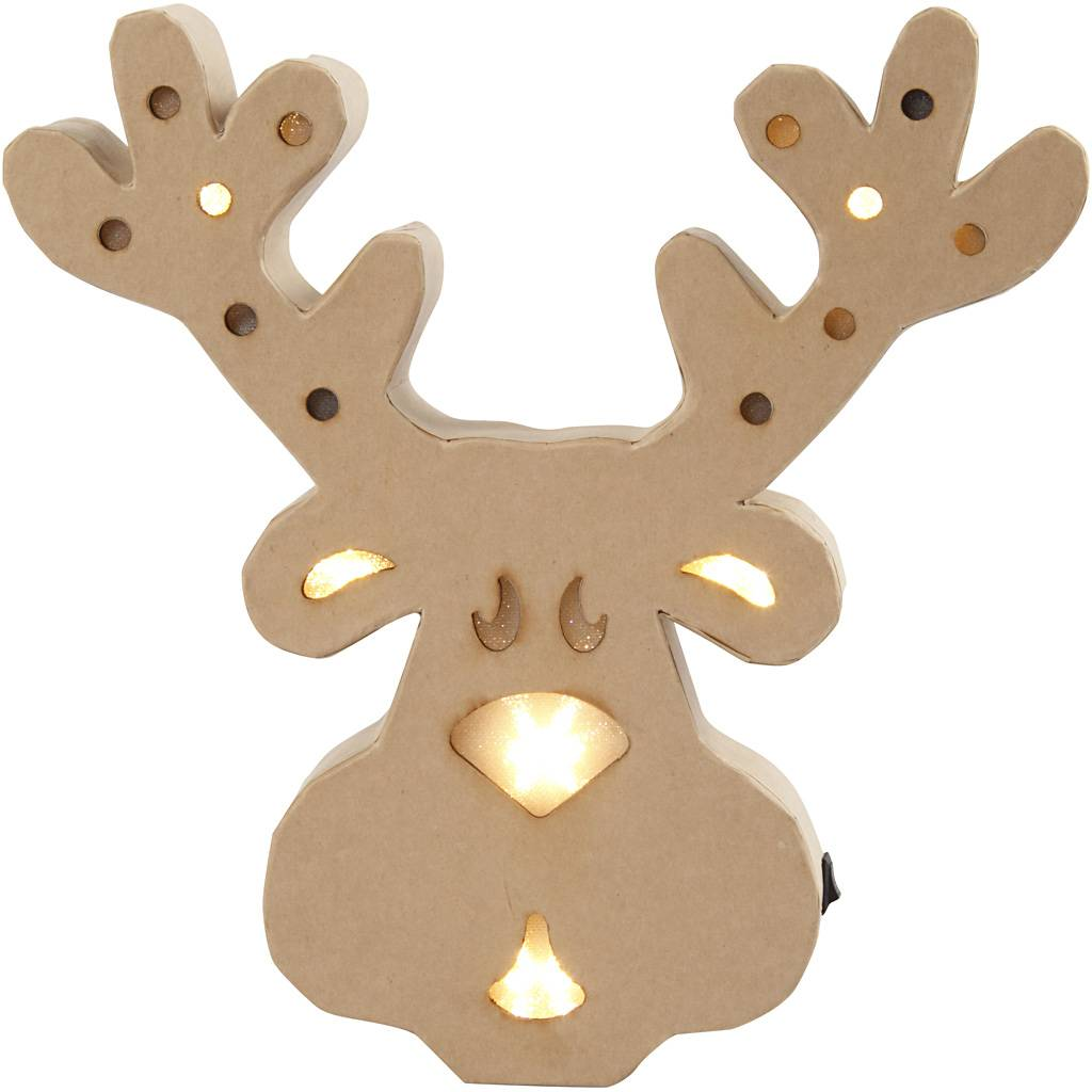 Creativ Company Figure with light inside, reindeer, H: 28 cm, depth 4 cm, W: 27 cm, 1 pc