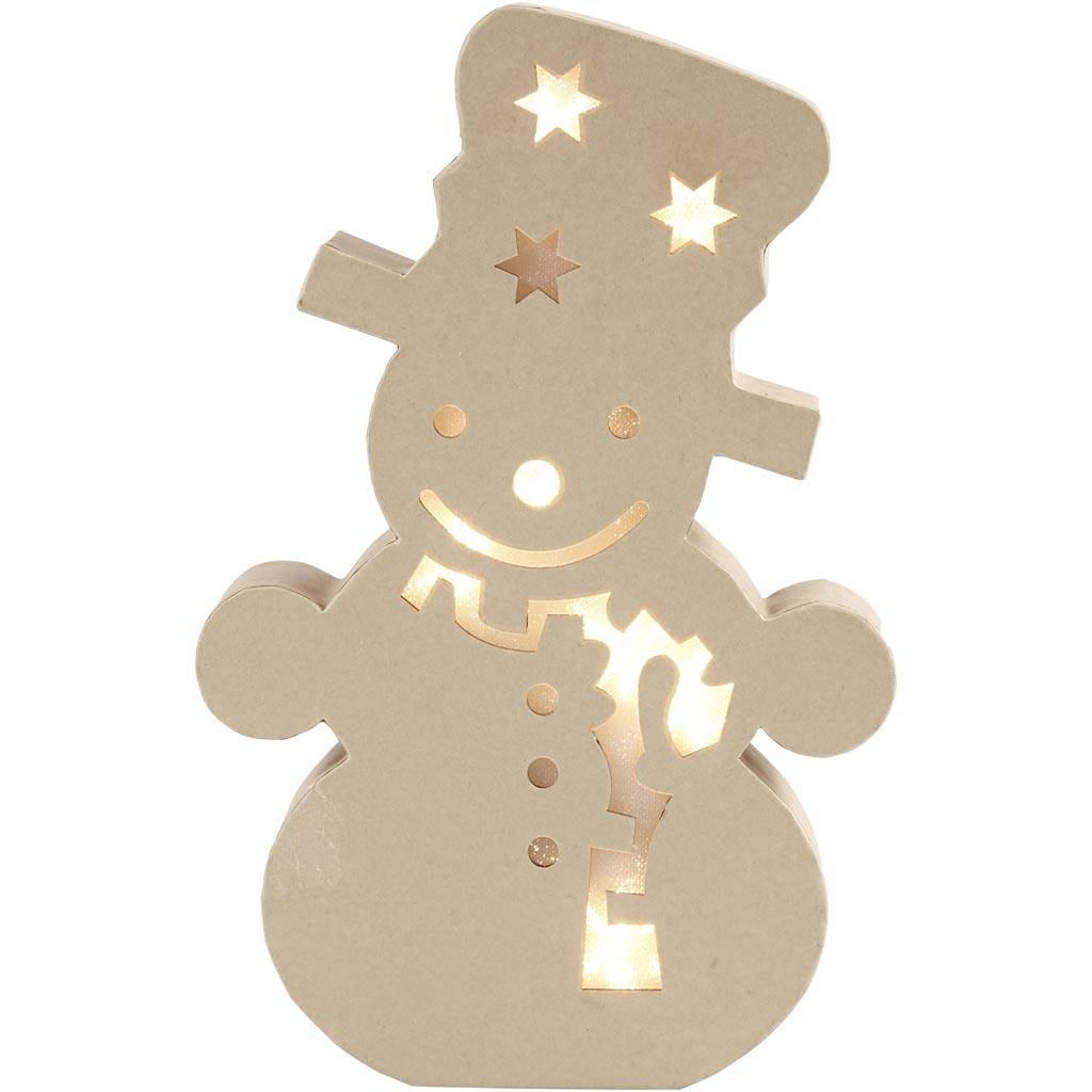 Creativ Company Figure with light inside, snowman, H: 27 cm, depth 4 cm, W: 17,5 cm, 1 pc