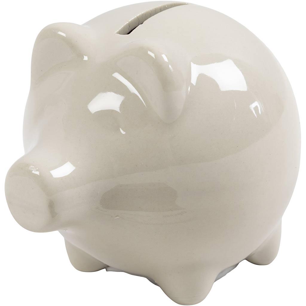 Creativ Company Piggy Bank, H: 8 cm, W: 8,5 cm, off-white, 10 pc/ 1 box