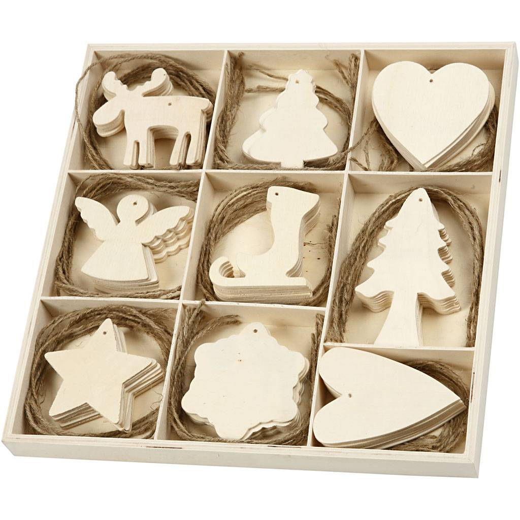 Creativ Company Wooden Ornament, christmas, size 7-8 cm, 72 pc/ 1 pack