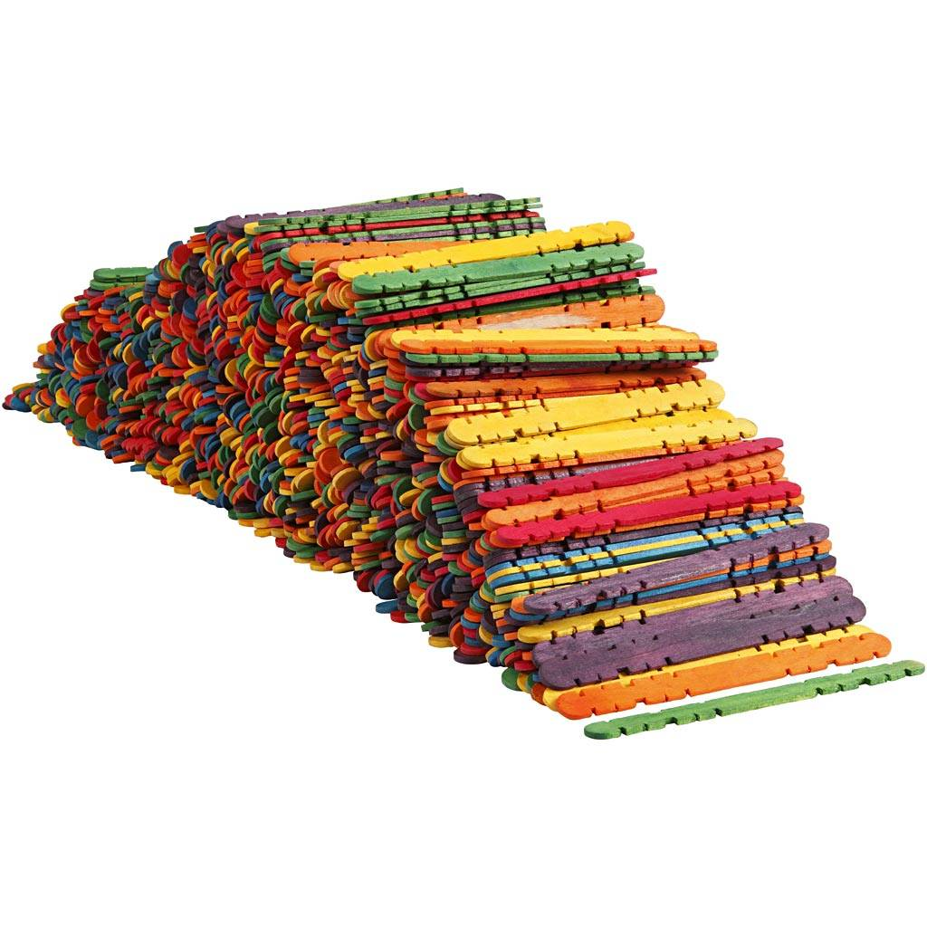 Creativ Company Sticks with holes, L: 11,4 cm, W: 10 mm, assorted colours, 1000 pc/ 1 pack