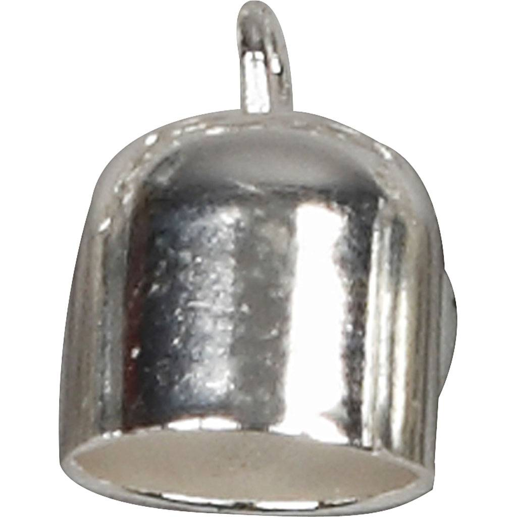 Creativ Company End Caps, D: 8 mm, silver-plated, 50 pc/ 1 pack