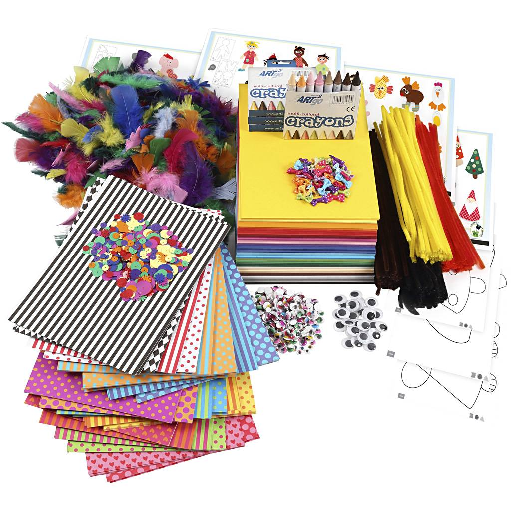 Creativ Company Large Creative Package of Materials and Templates, assorted colours, 1 set