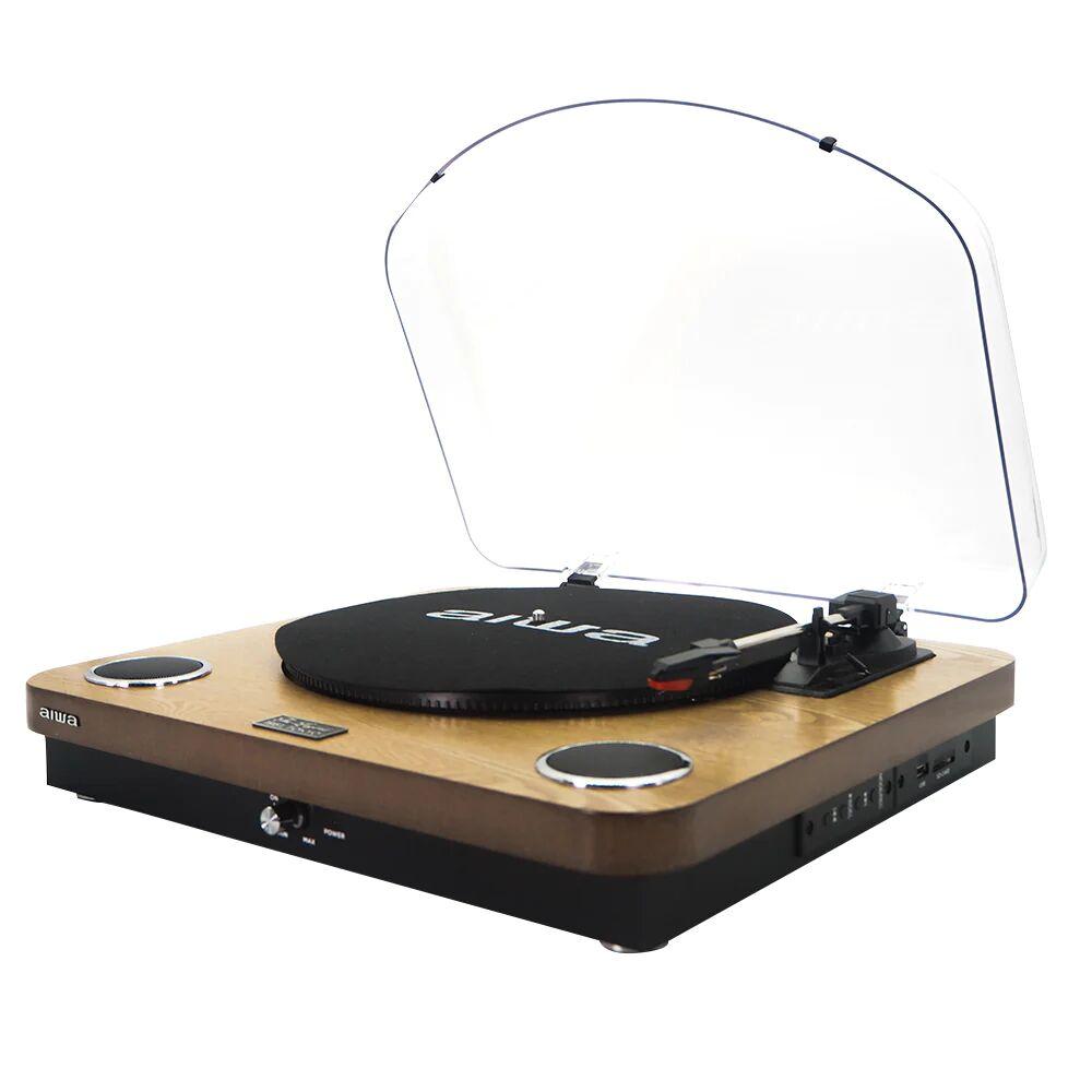 Aiwa GBTUR-120 Turntable Bluetooth 3 Speed FM Radio - Wood