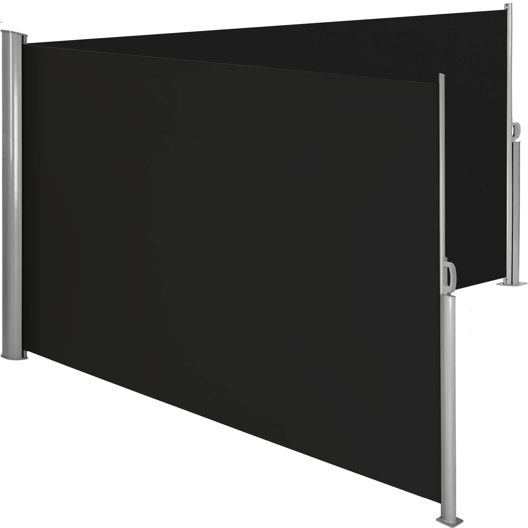 tectake Aluminium double side awning privacy screen - black, 200 x 600 cm