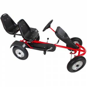 tectake Go kart with 2 seats - red