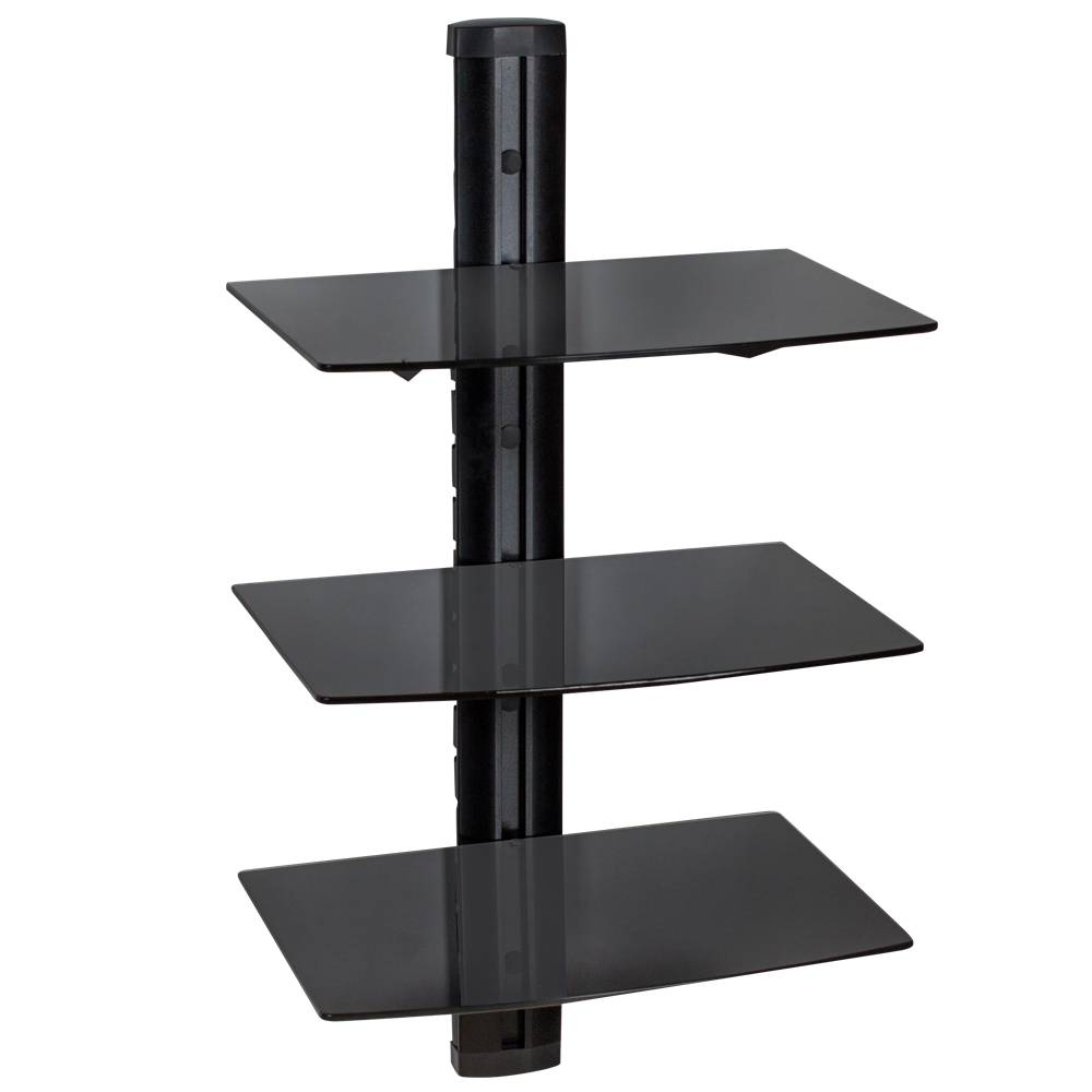 tectake Floating shelves with 3 tiers model 3 - black