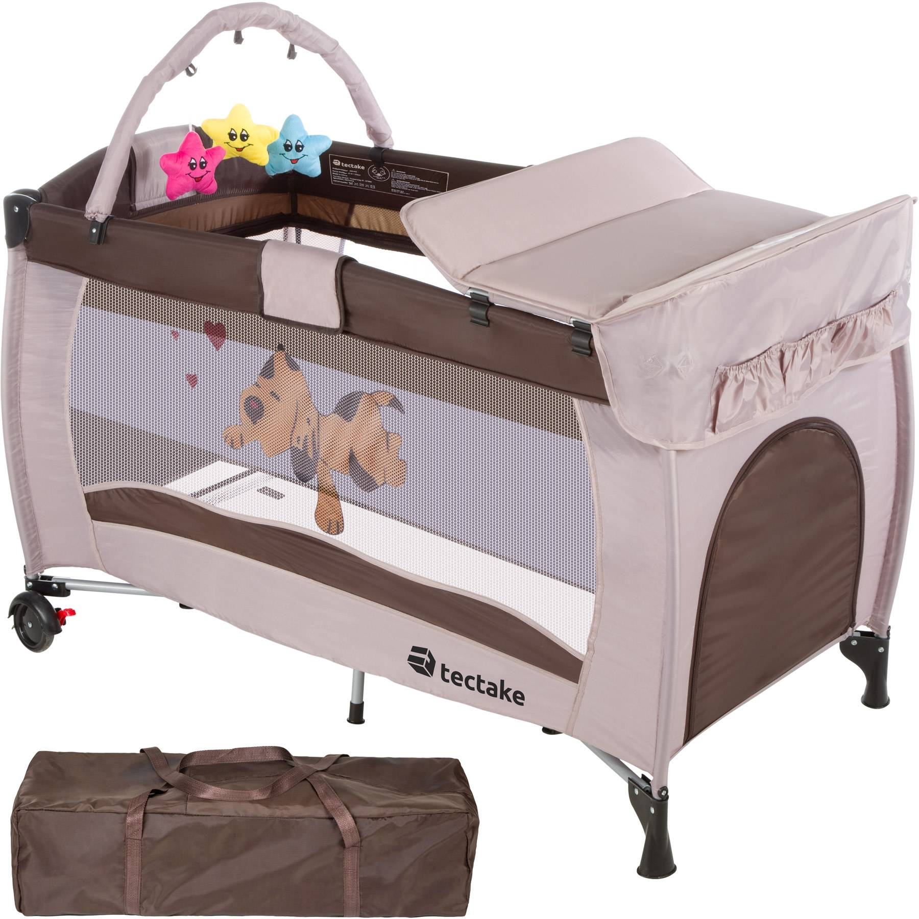 tectake Travel cot dog with changing mat and play bar - brown