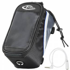 tectake Phone holder for bike - black/grey/blue, 20.5 x 10 x 10.5 cm