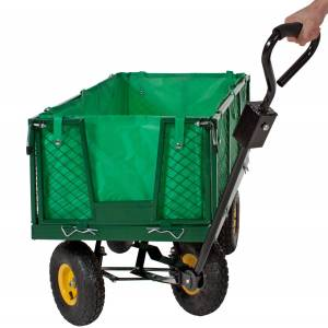 tectake Garden trolley with inner lining max. 550kg - green