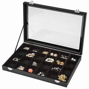 tectake Jewellery box with 24 storage compartments - black