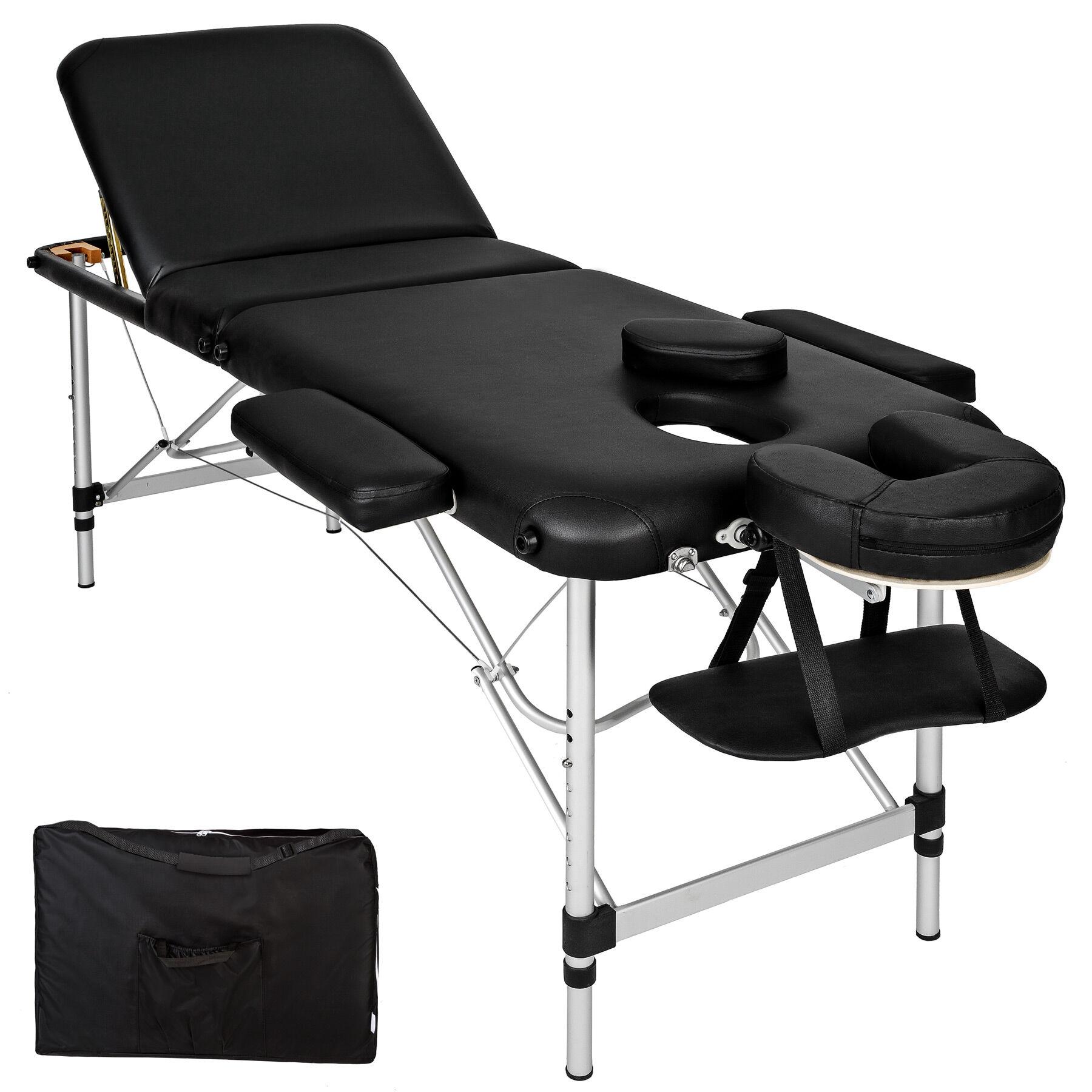 tectake Massage table 3-zone aluminium 5 cm padding + bag - black