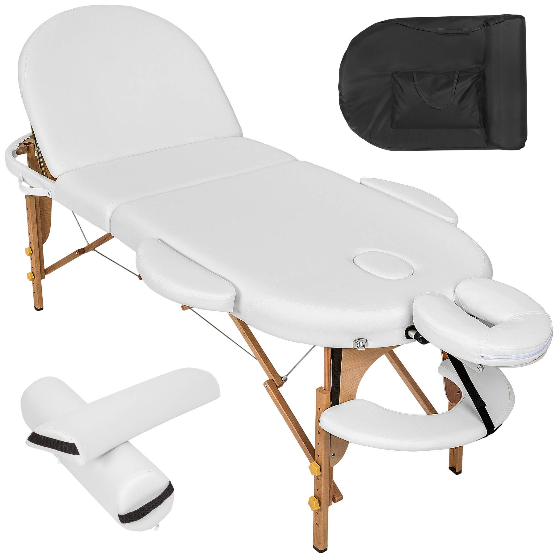 tectake Massage table oval with 5 cm padding + rolls - white