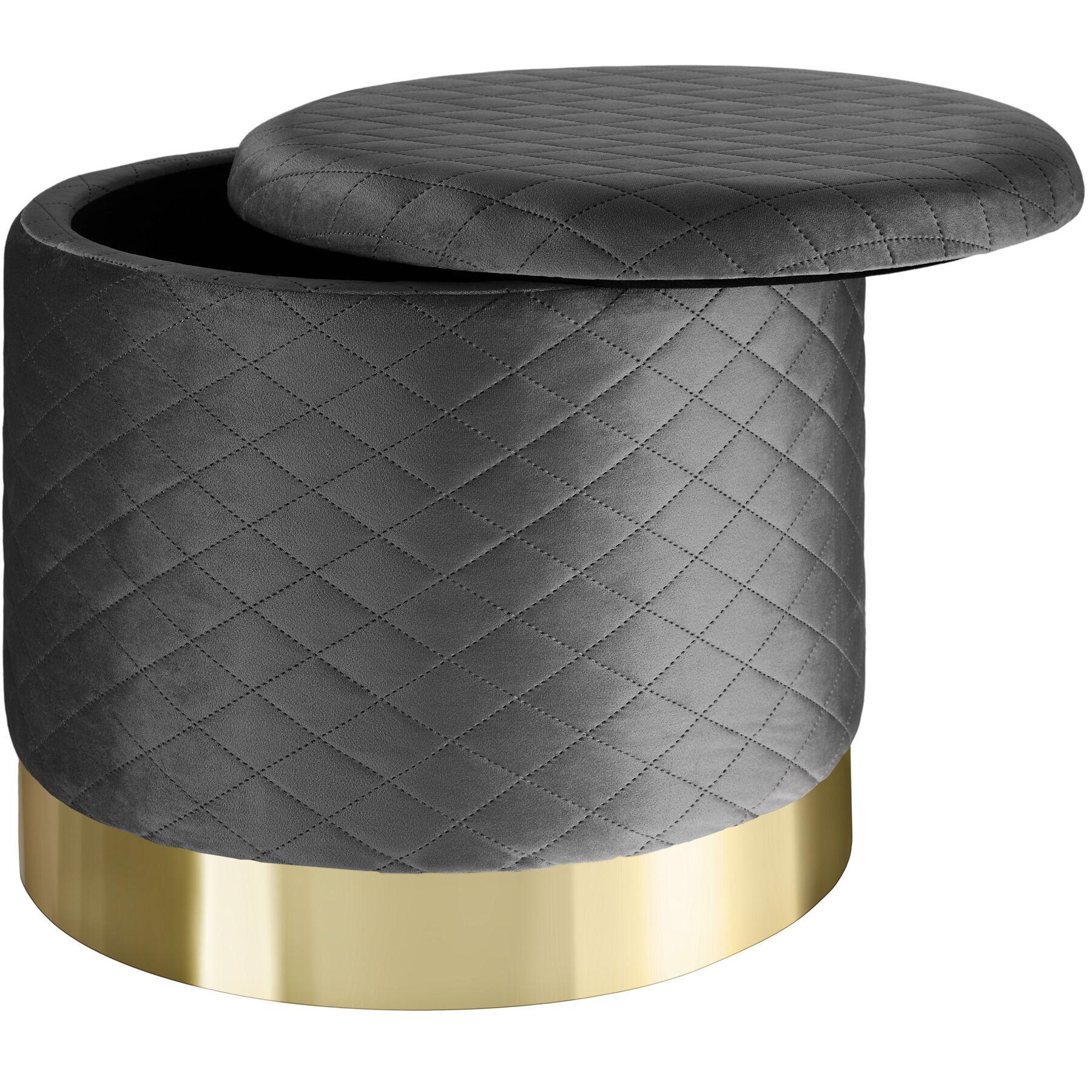tectake Stool Coco upholstered in velvet look with storage space - 300kg capacity - dark grey