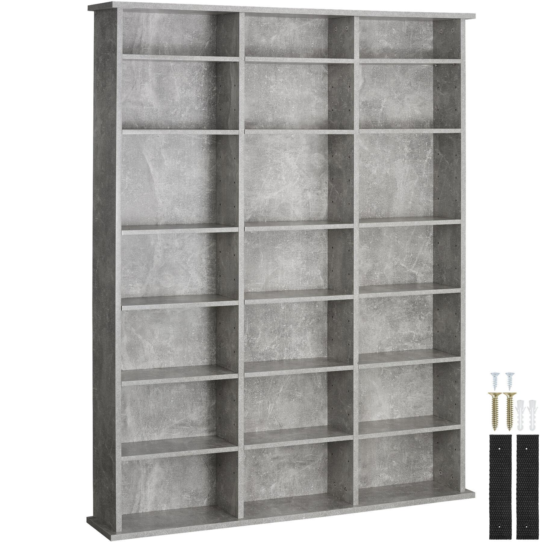 tectake CD shelves Stevie , DVD Shelving unit - bookshelf - concrete grey