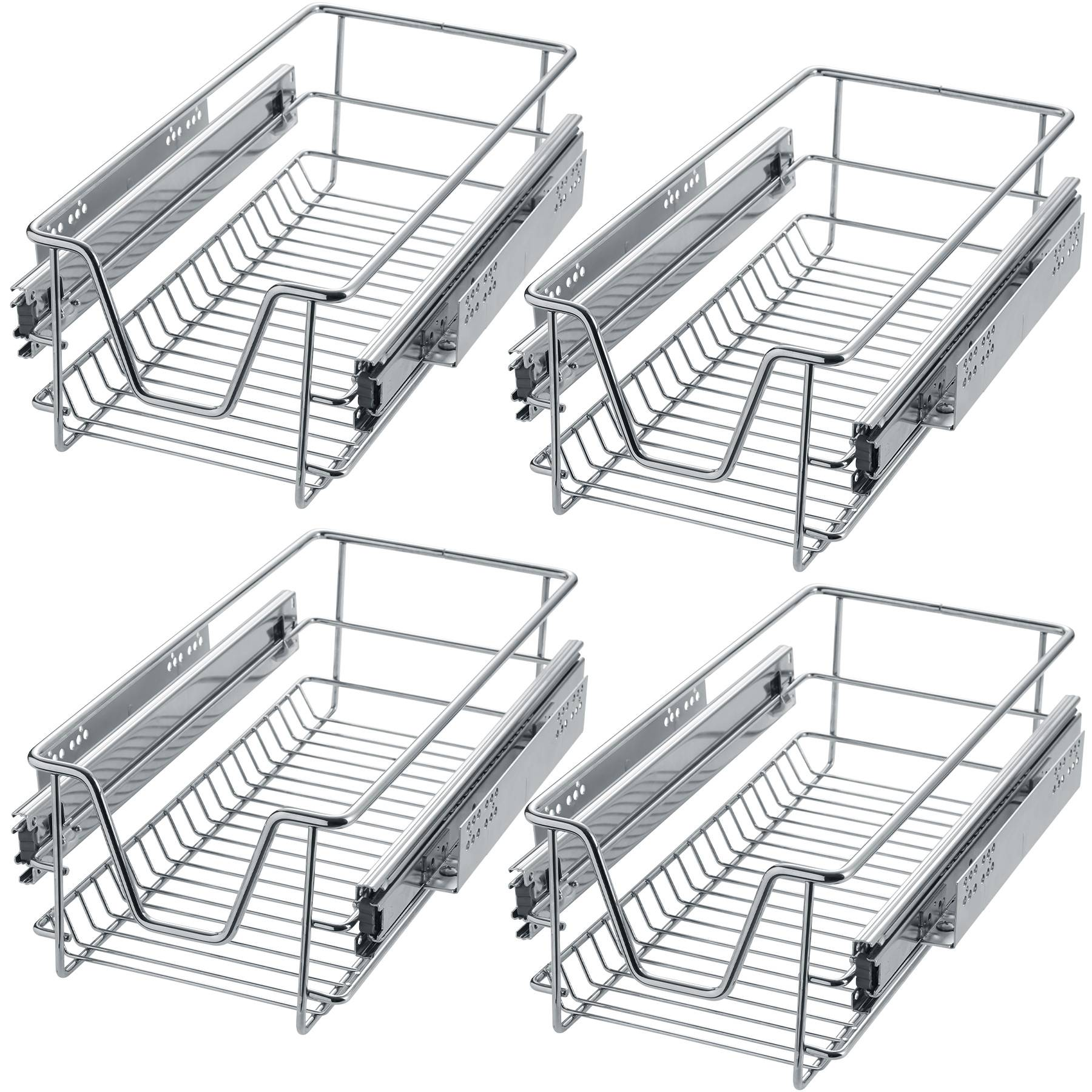tectake 4 Sliding wire baskets with drawer slides - 27 cm