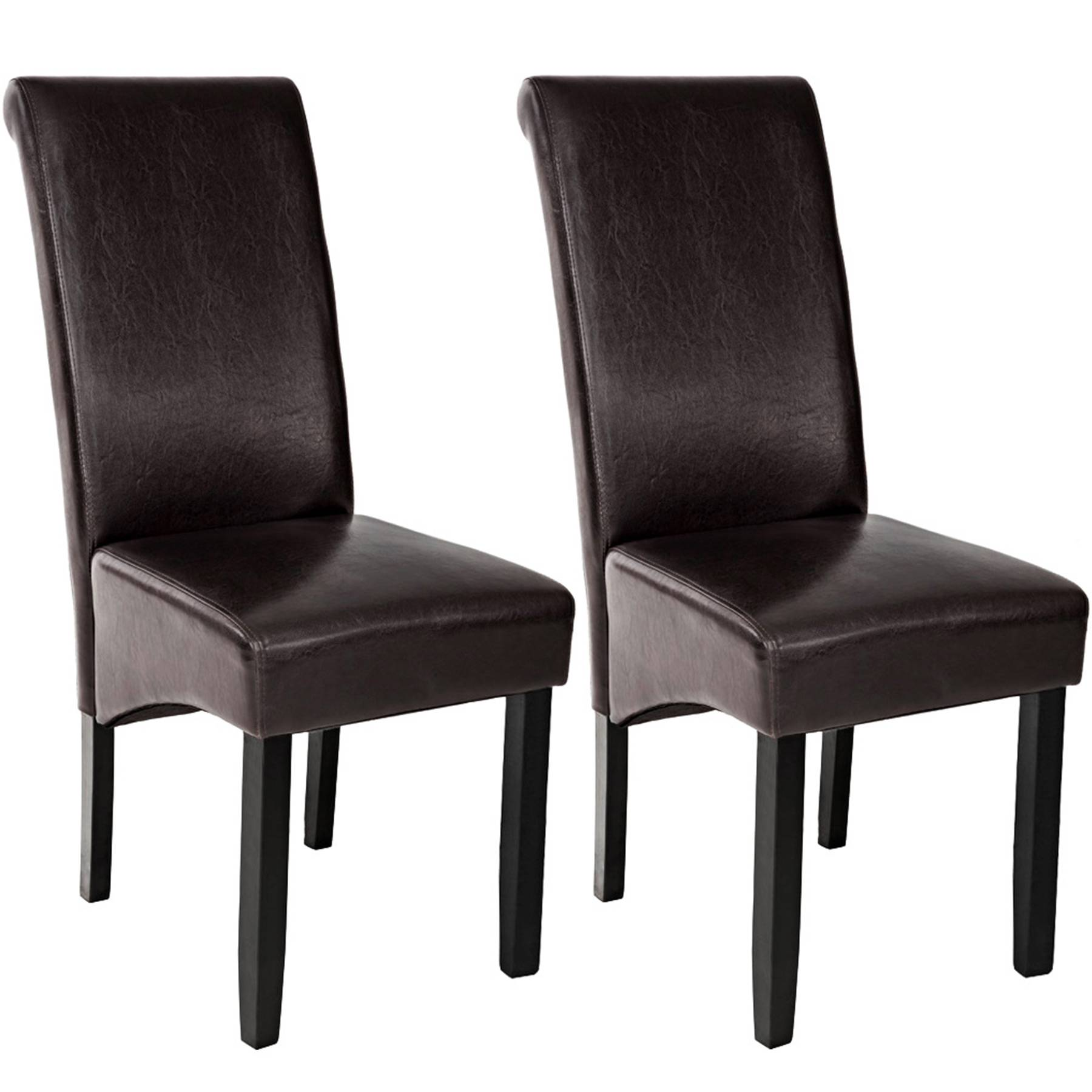 tectake Dining chairs with ergonomic seat shape - brown
