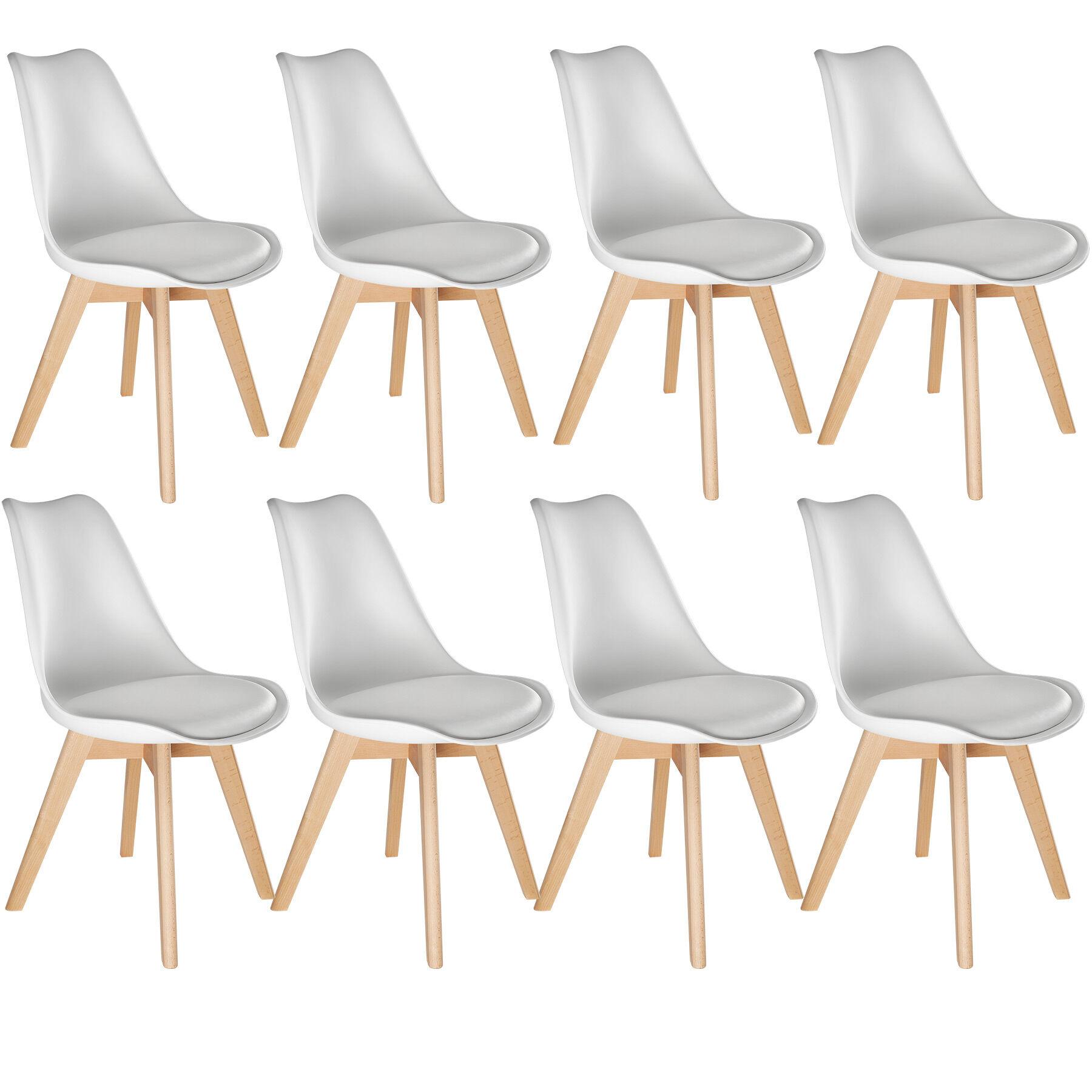 tectake 8 Friederike Dining Chairs - white
