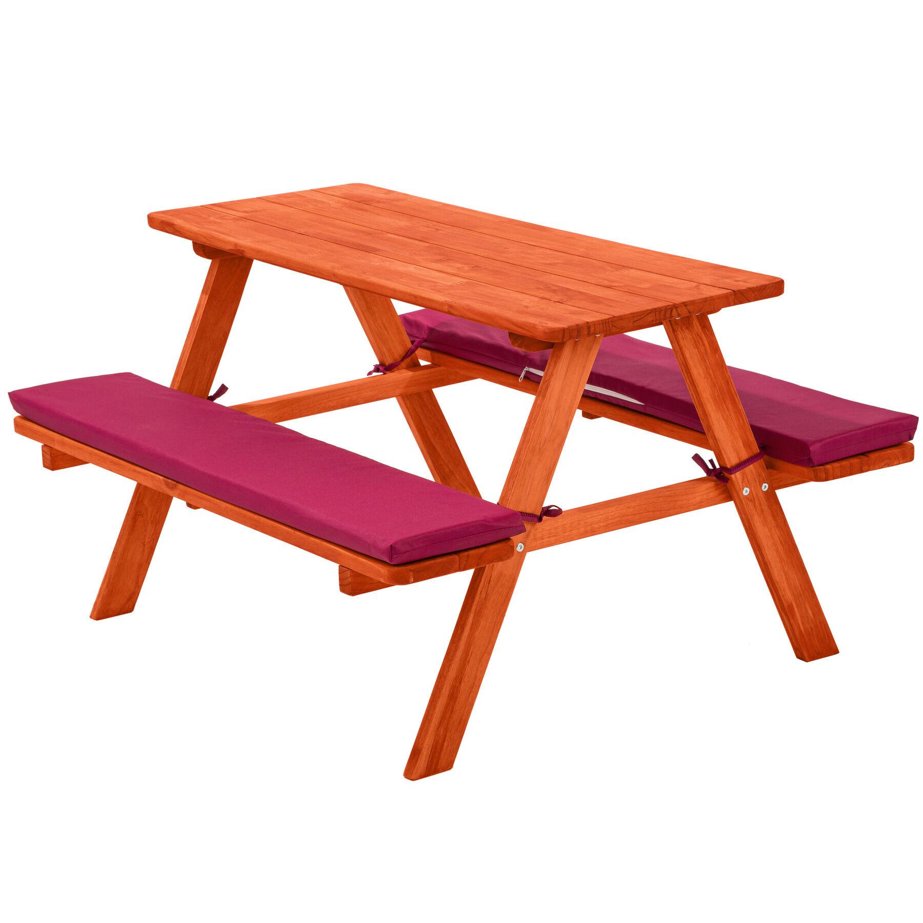 tectake Kids wooden picnic bench - red