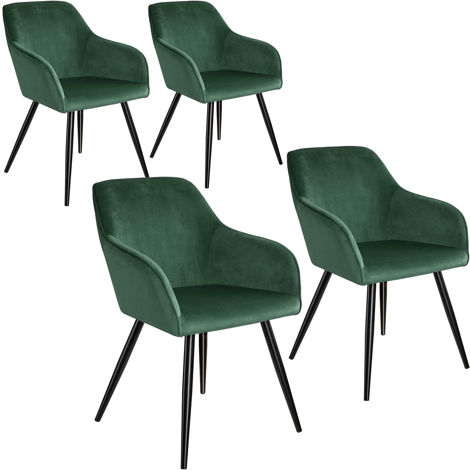tectake 4 Marilyn Velvet-Look Chairs - dark green/black