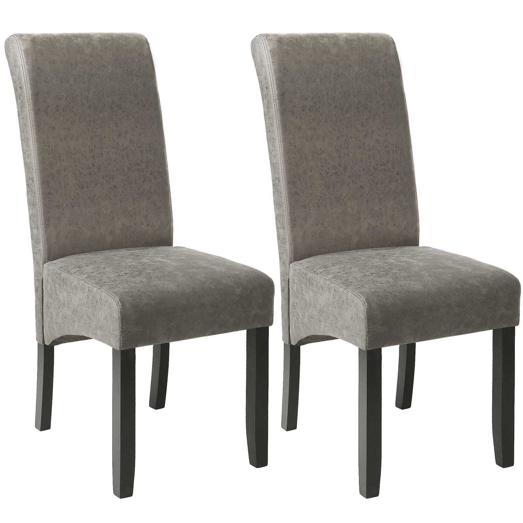 tectake Dining chairs with ergonomic seat shape - gray marbled