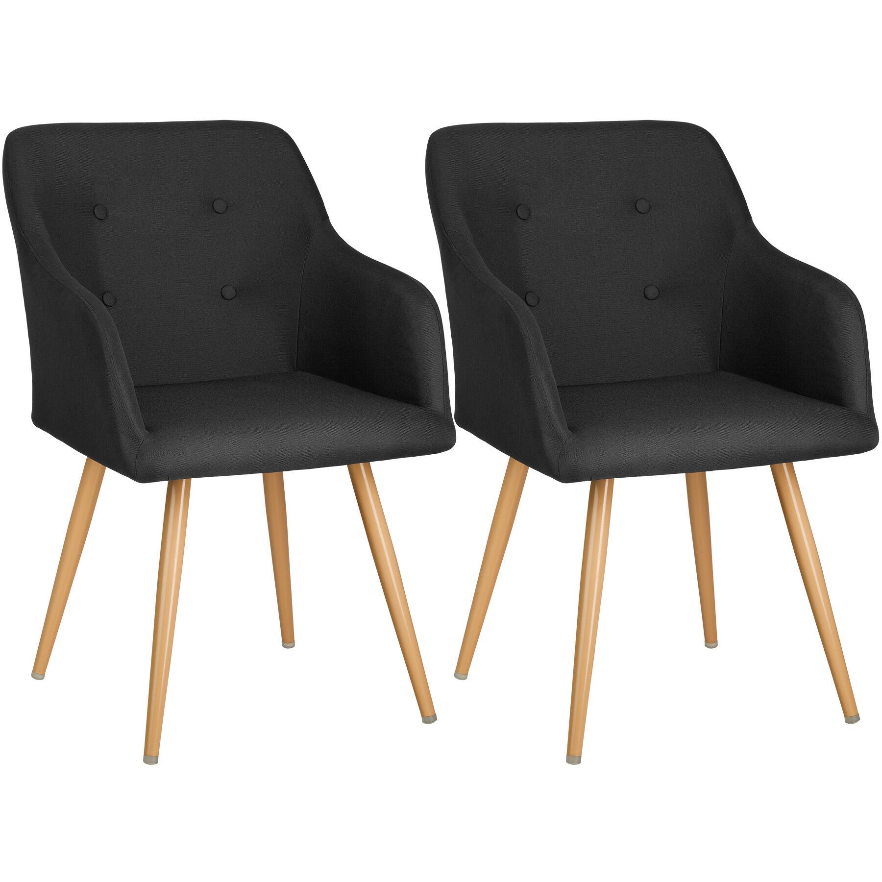 tectake 2 Chairs Tanja - black