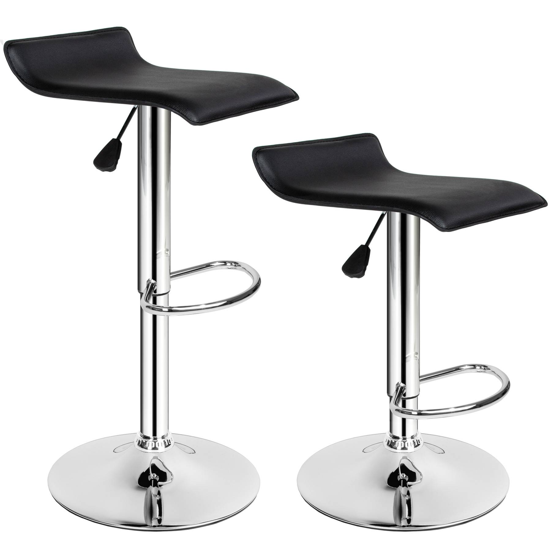 tectake 2 bar stools Lars made of artificial leather - black