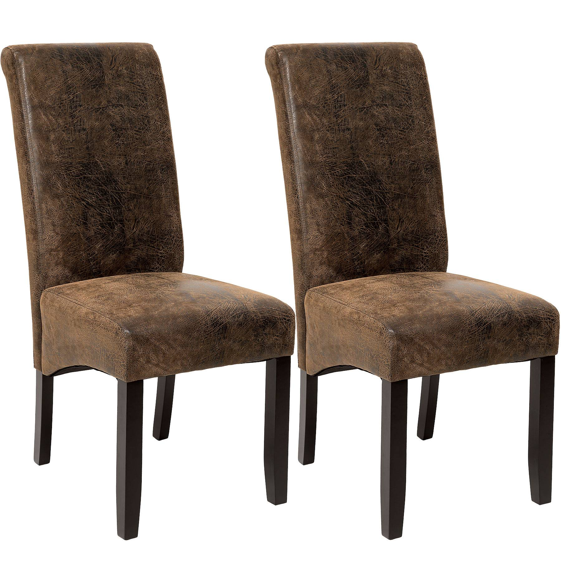 tectake Dining chairs with ergonomic seat shape - antique brown