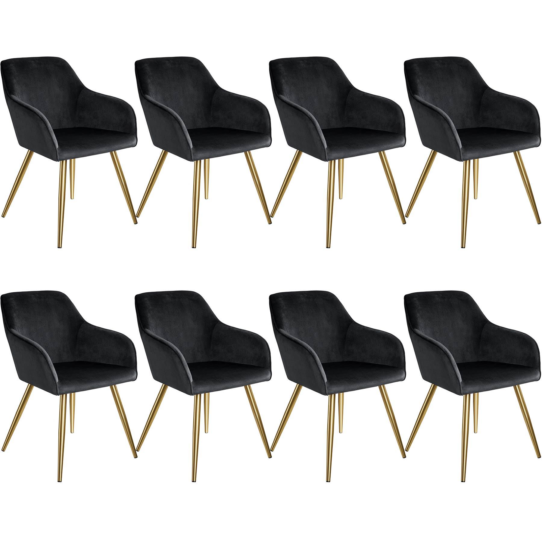 tectake 8 Marilyn Velvet-Look Chairs gold - black/gold
