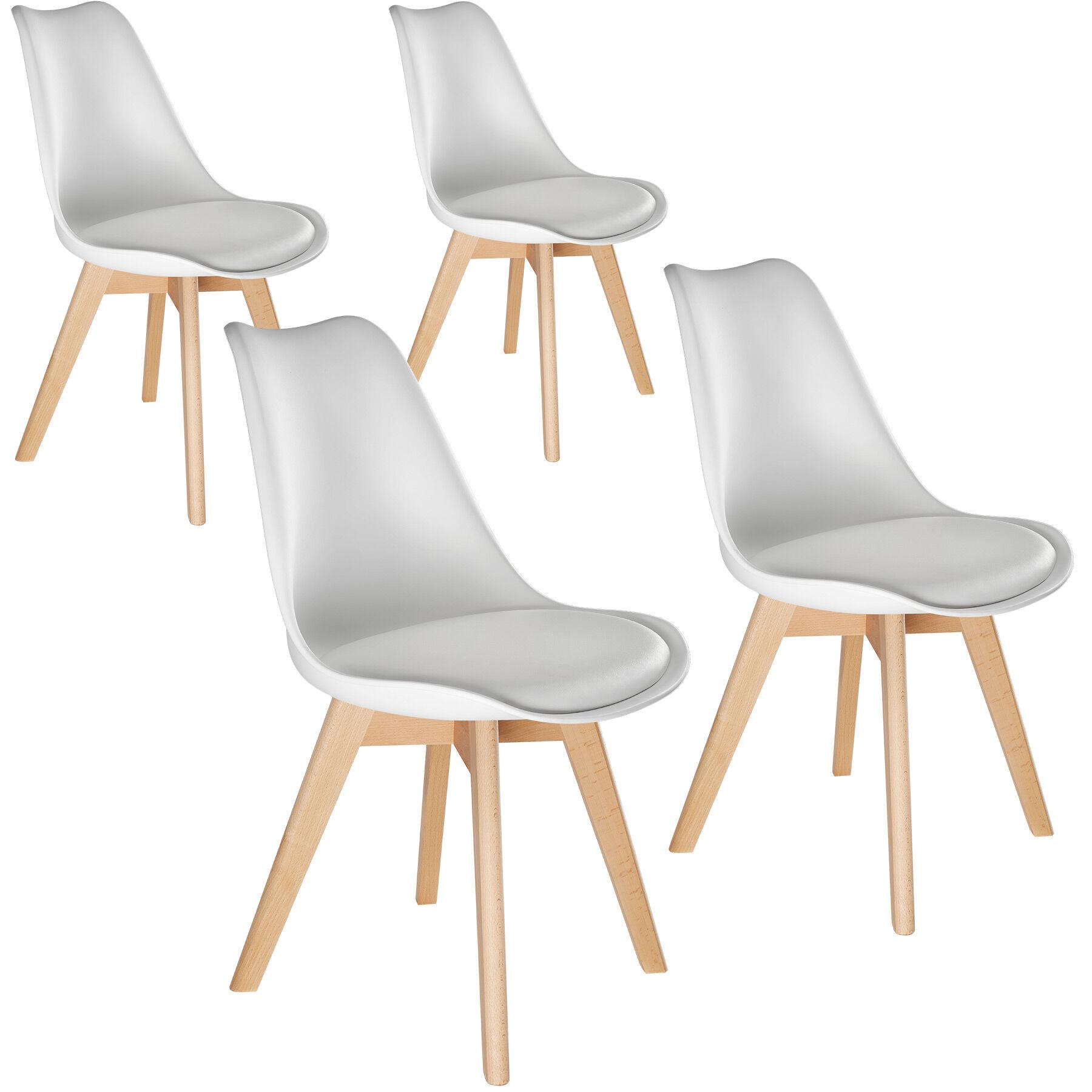 tectake 4 Friederike Dining Chairs - white