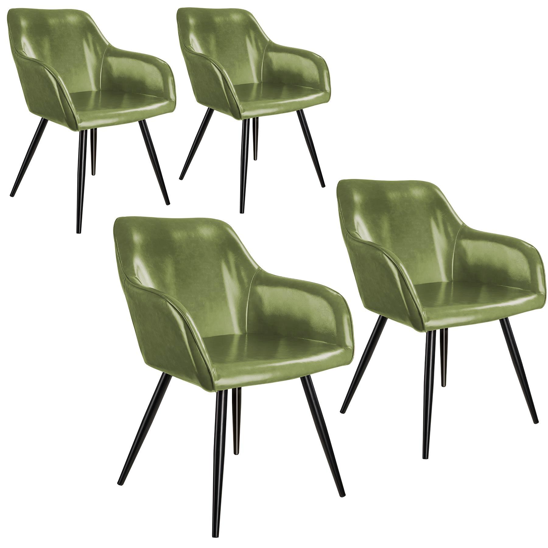 tectake 4 Marilyn Faux Leather Chairs - dark green/black