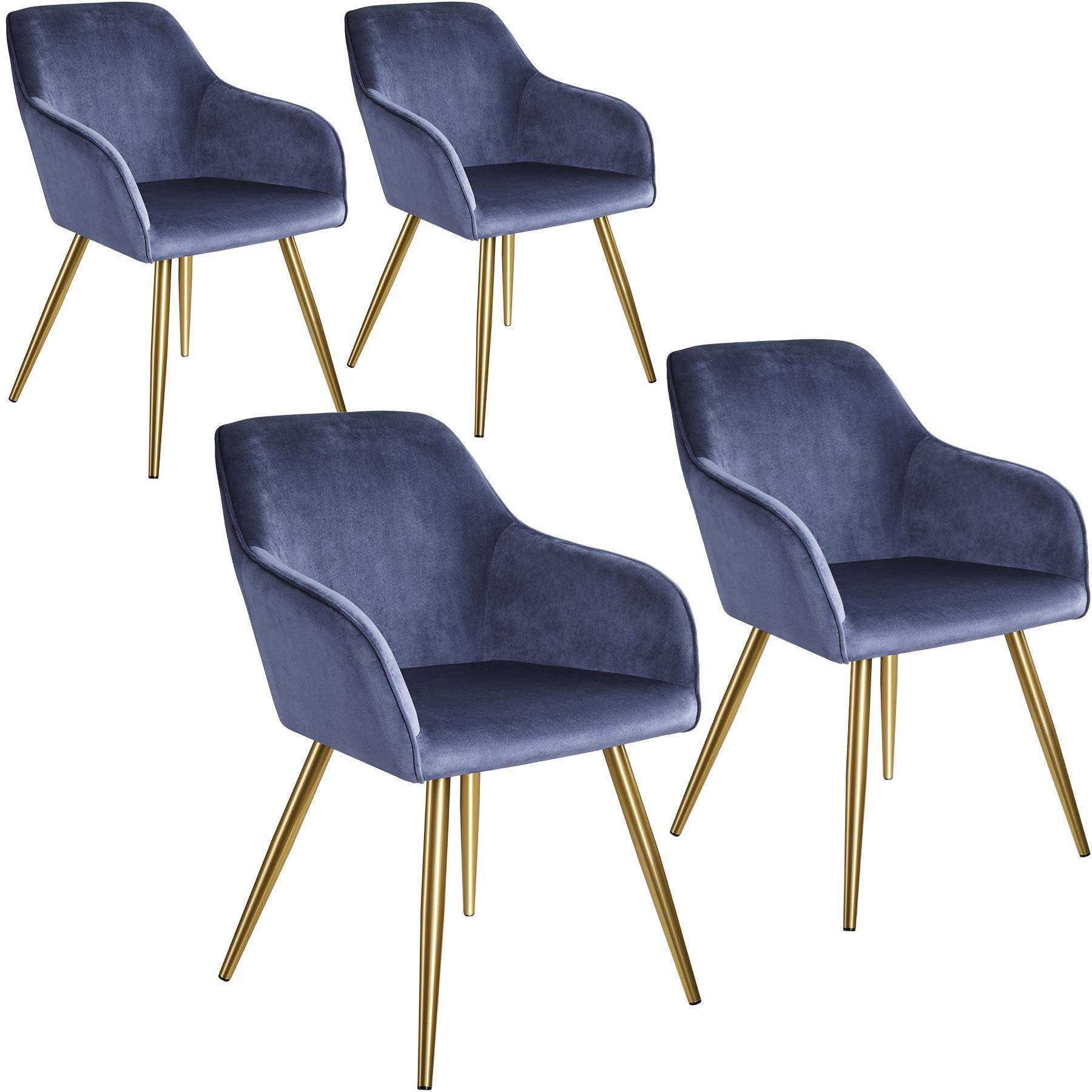 tectake 4 Marilyn Velvet-Look Chairs gold - blue/gold