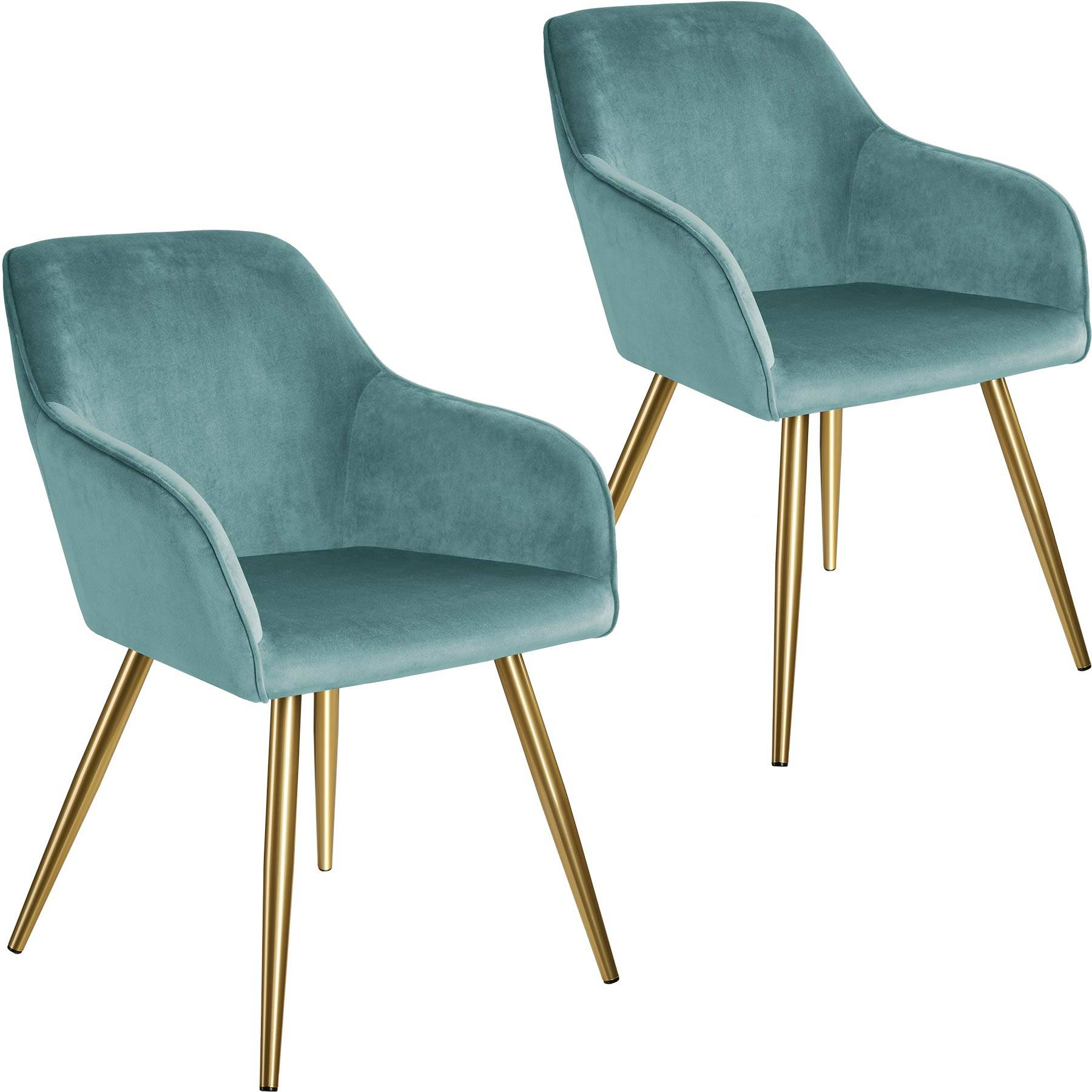 tectake 2 Marilyn Velvet-Look Chairs gold - turquoise/gold
