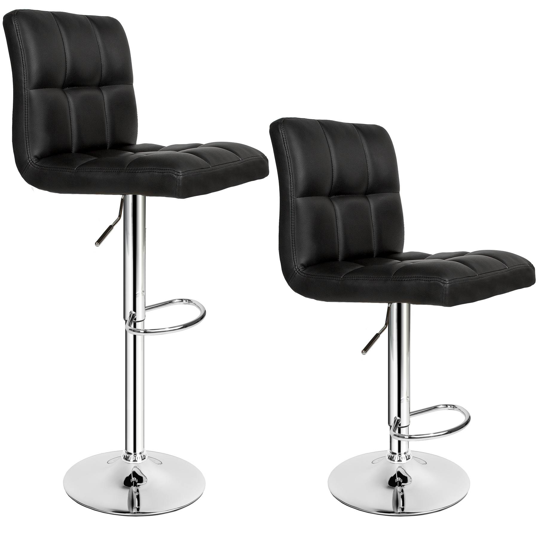 tectake 2 bar stools Tony made of artificial leather - black