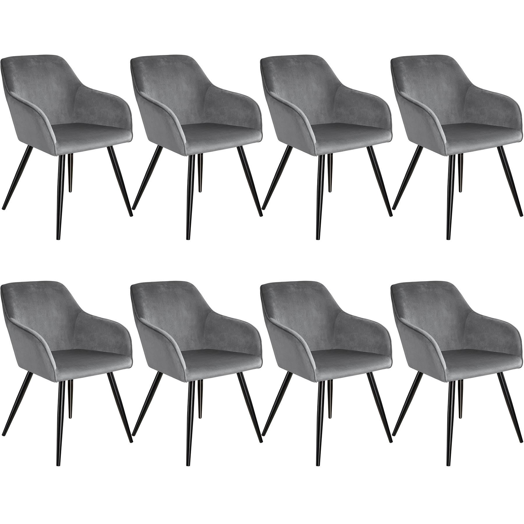 tectake 8 Marilyn Velvet-Look Chairs - grey/black