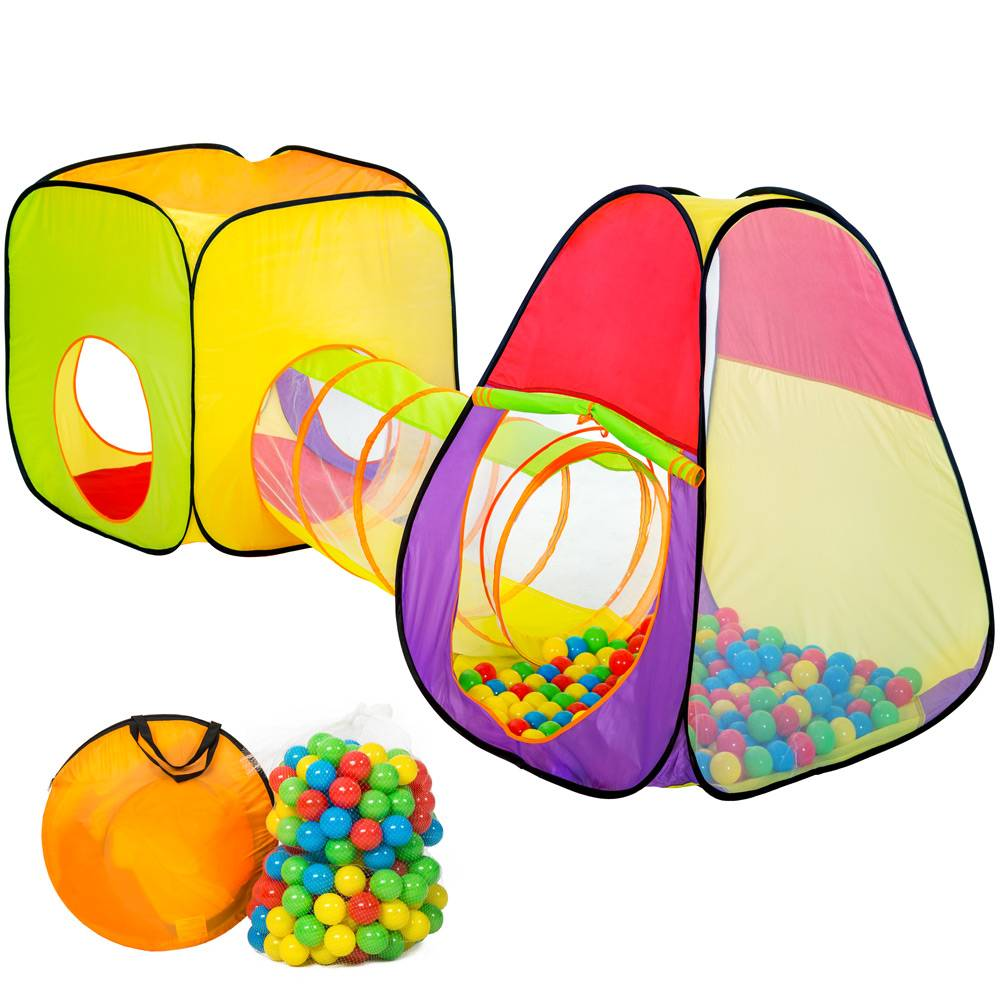 tectake Play tent with tunnel + 200 balls pop up tent - colorful