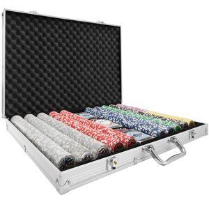 tectake Poker set - silver, 1000 Pieces