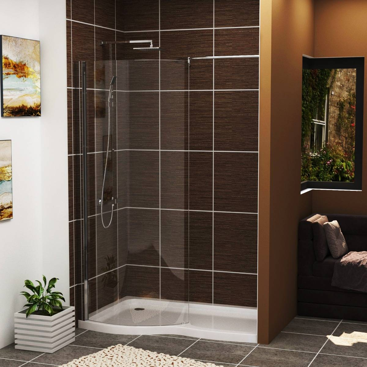 Royal Bathrooms Elegance Wet Room Shower Screen 8mm Easy Clean Glass with 1400 x 900mm Shower Tray Left Handed