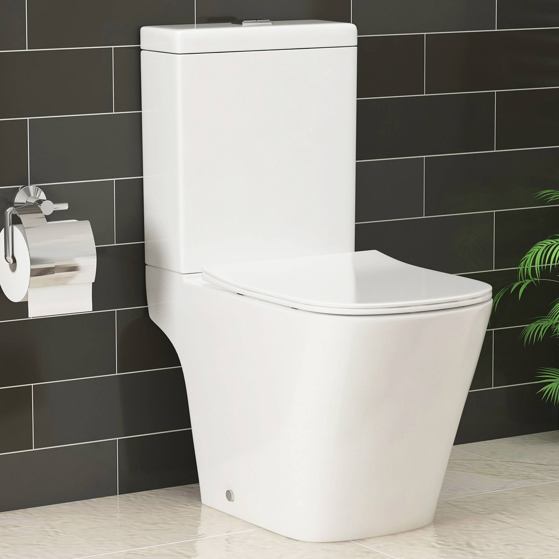 Royal Bathrooms Elite Rimless Square Close Coupled Toilet and Slim Soft Close Seat with Cistern