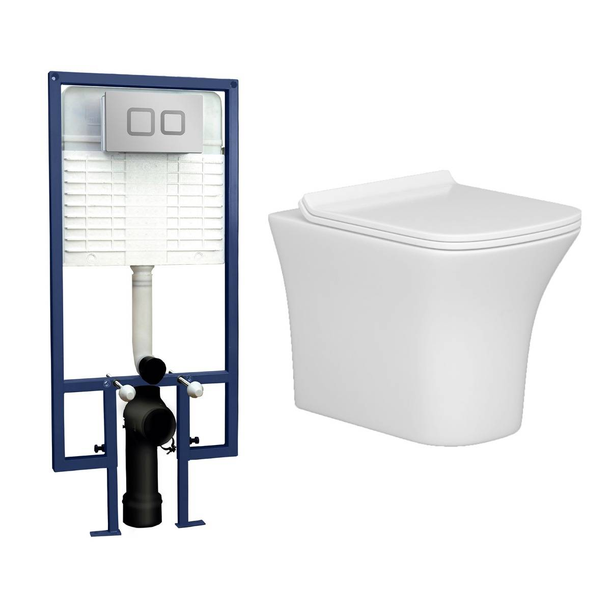 Royal Bathrooms Cube Short Projection Wall Hung Rimless Toilet with Slim Soft Close Seat & Wall Hung Frame - Square Push Button